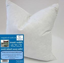 """2 Pillow Inserts: 16""""x16"""" 28oz. 90/10 White Goose Feather Do"""