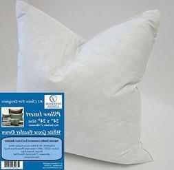 "4 Total - 24"" Pillow Insert: 62oz. White Goose Down - 2"" Ove"
