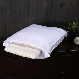 Adjustable White Duck Down Pillow Medium-Firm Neck Support S