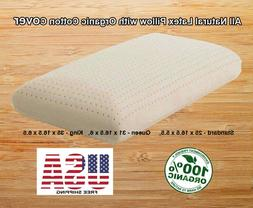 Natural Latex Pillow with Organic Cotton Cover - Standard, Q