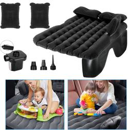 Black Inflatable Car Air Bed Mattress with Back Seat Pillow