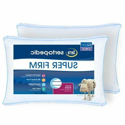 King Size Super Firm Set of 2 Bed Pillows Comfort Sleep Hypo