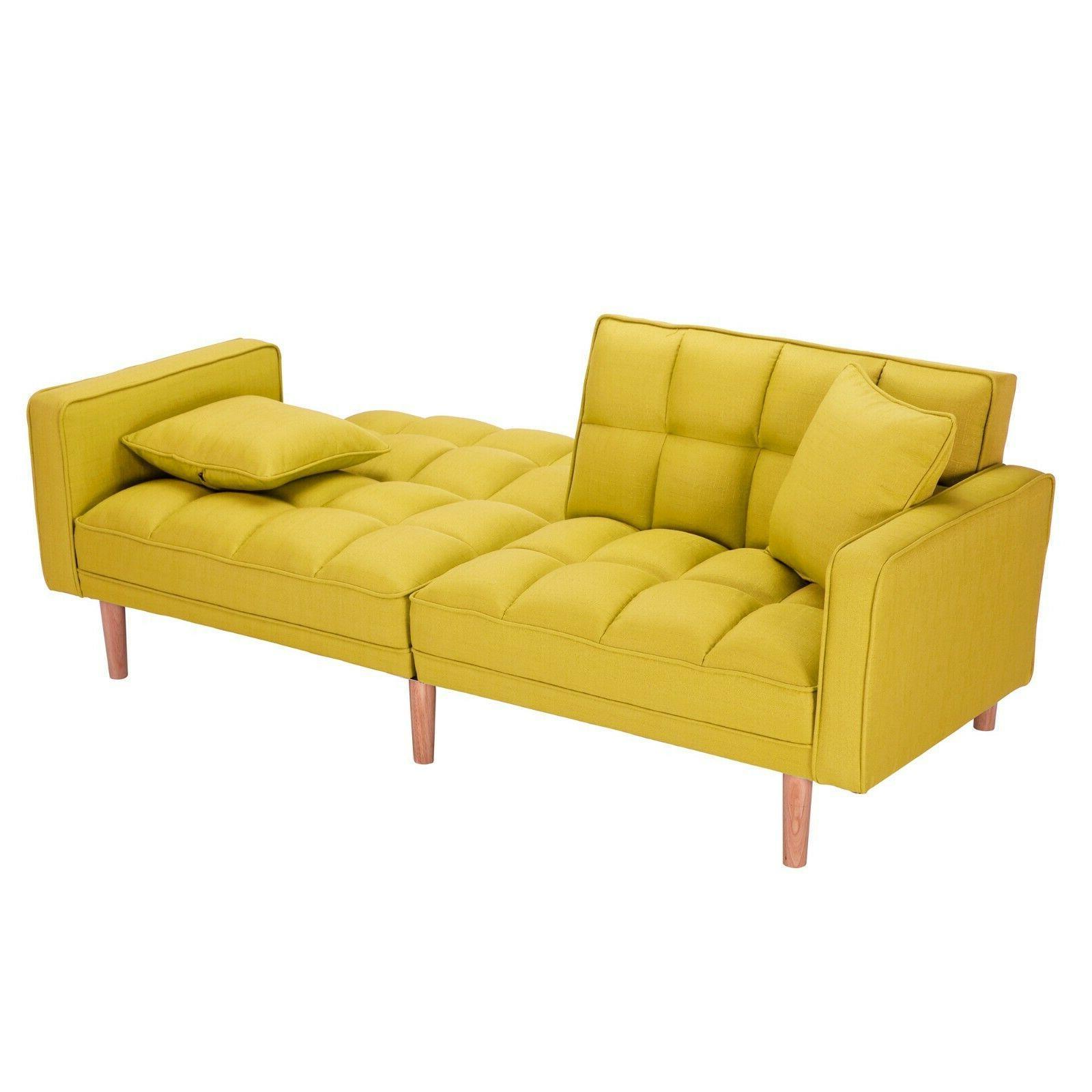 Modern Bed Futon Sofa With 2 Pillows Lounge Sofa USA