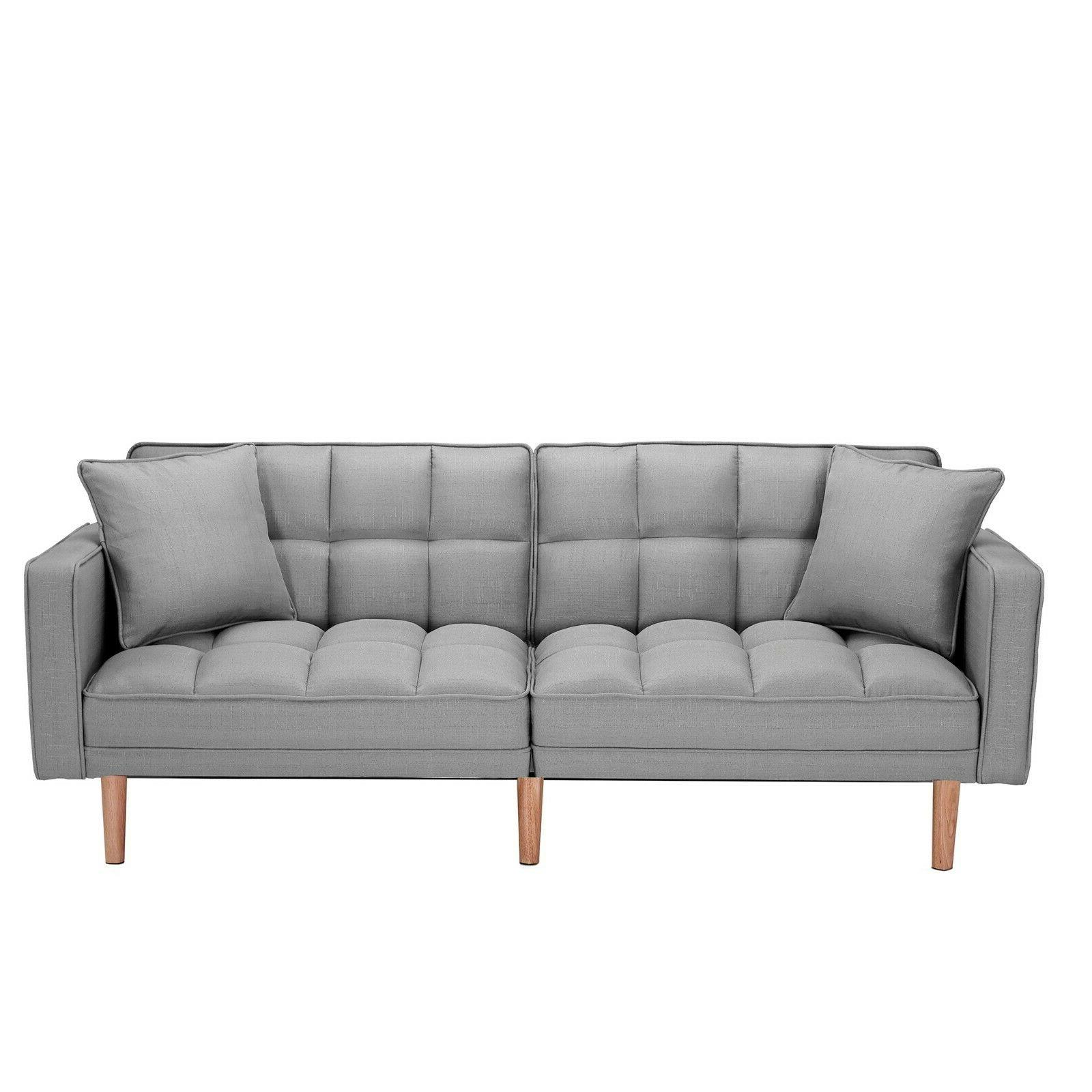 Modern Futon Pillows Folding Lounge Sofa