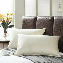 Set of 2 Down Feather Bed Pillows SOFT AND FIRM