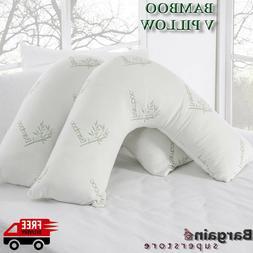 V Shaped Bamboo Pillow Orthopedic Pregnancy Maternity Nursin